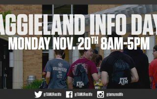 Announcement Header - Aggieland Info Day - Monday, November 20 from 8:00am to 5:00pm