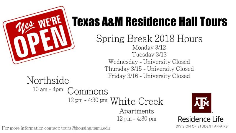 Spring Break Tour Hours for Residence Halls and Apartments