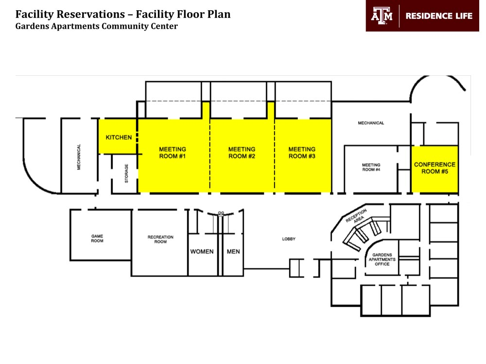Meeting reservations event coordination residence life for Banquet room layout planner