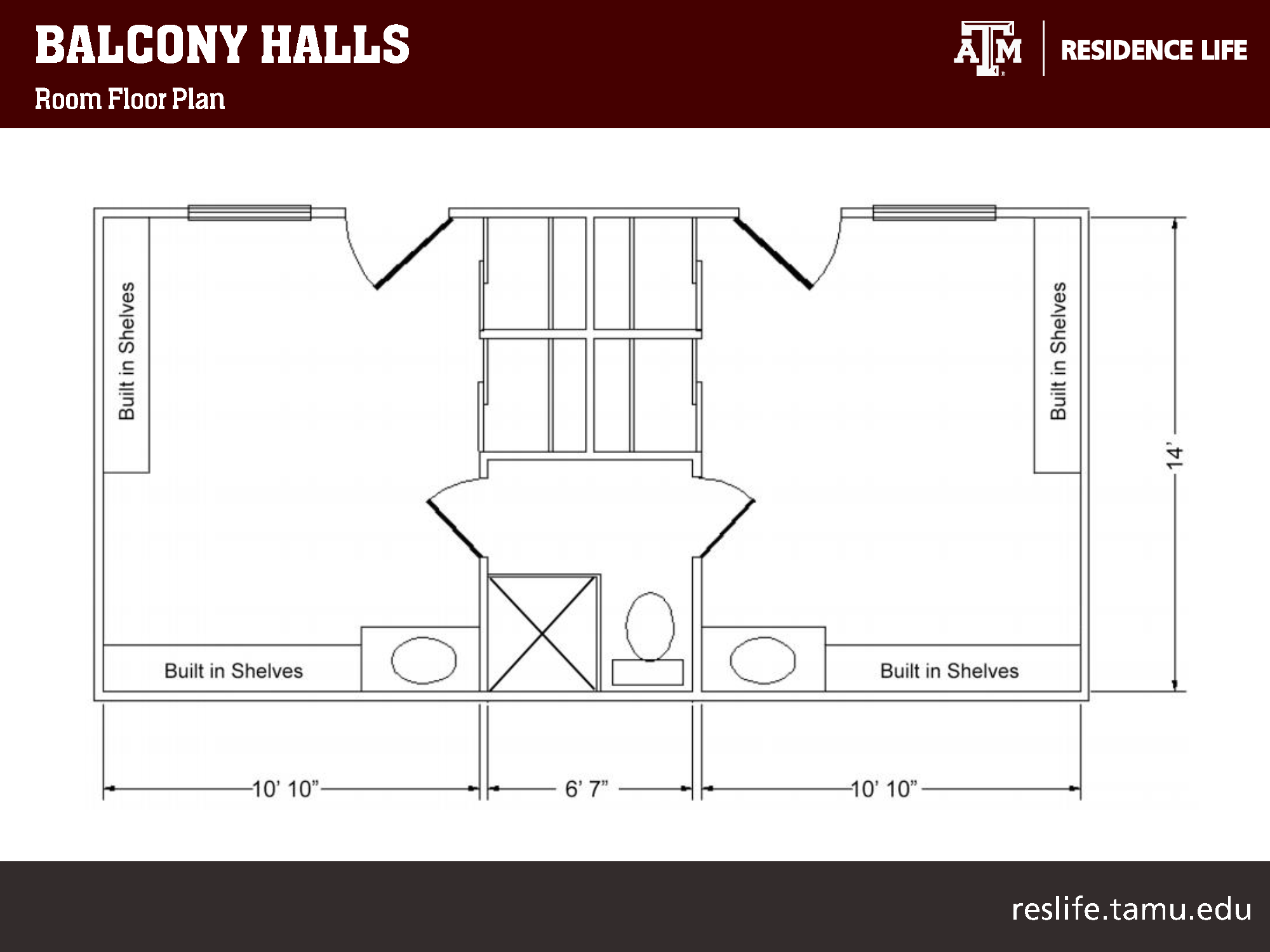 """Bird's-eye view of 2-D floor plan: shows a single room with dimensions of 14'' x 10' 10"""". A 6' 7"""" wide bathroom is depicted, along with a double room with the dimensions of 14'' x 10' 10""""."""