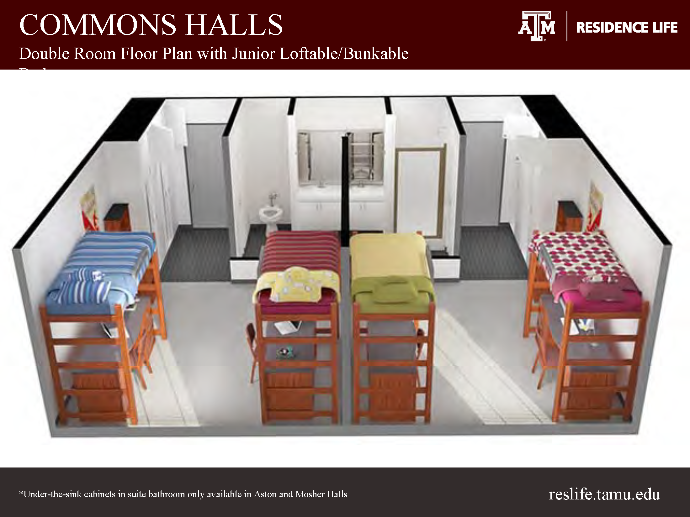 Side View of a 3-D Floor Plan, 4 closets, 2 sinks, shower stand, toilet, 4 beds, 4 storage units, 4 study tables, 4 study chairs
