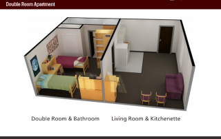 Side-view of 3-D floor plan of Double Room Apartment, Living Room & Kitchenette with couch and kitchen items, Bedroom with 2 beds and bathroom