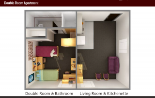 Bird's-eye View of 3-D floor plan of Double Room Apartment, Living Room & Kitchenette with couch and kitchen items, Bedroom with 2 beds and bathroom