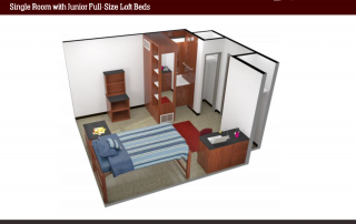 Side View of 3-D floor plan of single room, full size lofted bed, 2 open cabinets, dresser, study desk and chair, nightstand, sink