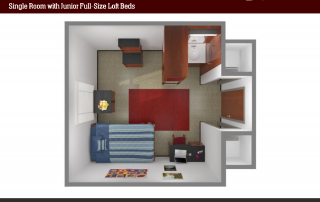 Bird's-eye View of 3-D floor plan of single room, full size lofted bed, 2 open cabinets, dresser, study desk and chair, nightstand, sink