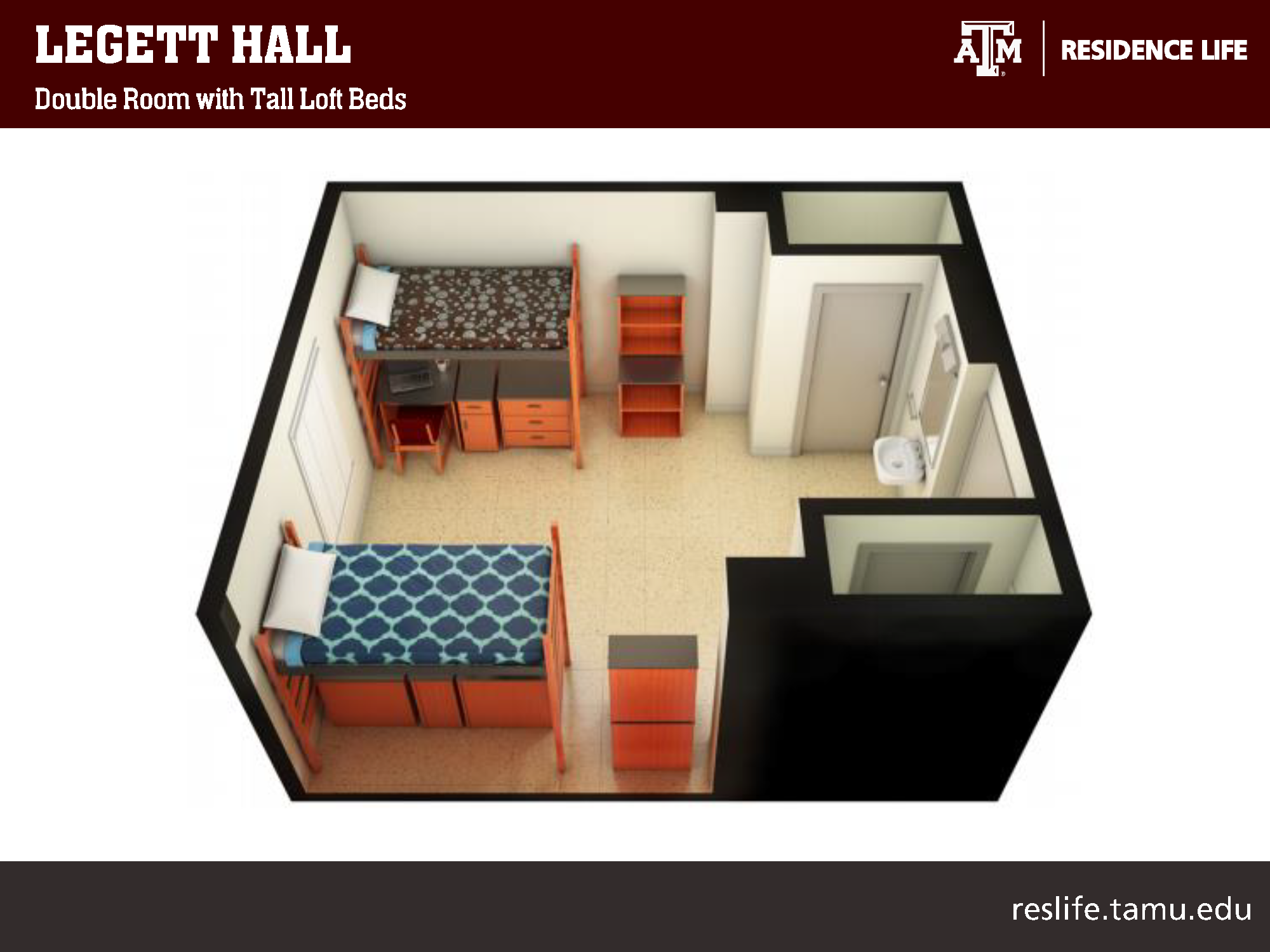 Side 3-D View of Dorm Room: two lofted beds pictured with study desk and two storage cabinets underneath each bed. 4 other storage shelves pictured in room. 1 sink vanity and two closets.