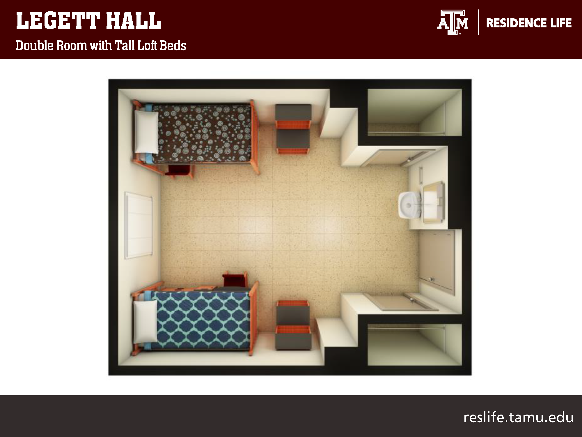 Bird's Eye 3-D View of Room: two lofted beds pictured with study desk and two storage cabinets underneath each bed. 4 other storage shelves pictured in room. 1 sink vanity and two closets.