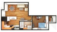 Gardens Standard 1 Bedroom/1 Bath Floor Plan