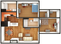 Gardens Standard 2 Bedroom/2 Bath Floor Plan
