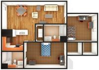 Gardens Premium 2 Bedroom/2 Bath Floor Plan