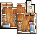 Hullabaloo Hall Double Suite Floor Plan
