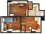 Hullabaloo Hall 2-Person Suite Floor Plan
