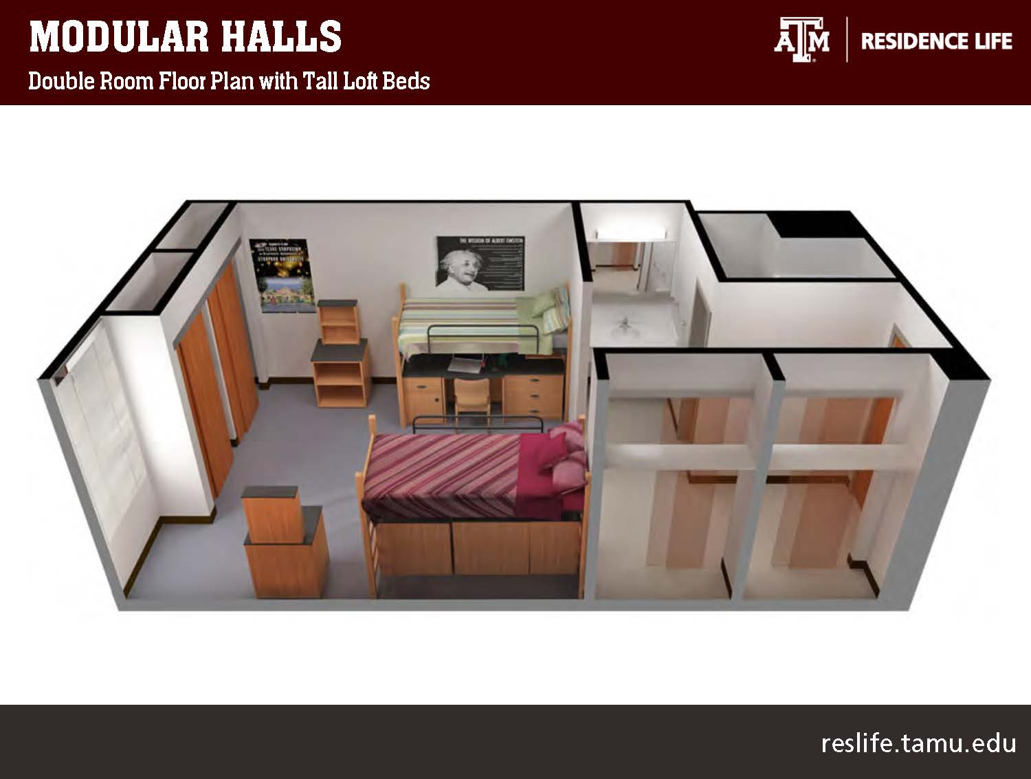 Side View of a 3-D Floor Plan, 4 closets, sink, bathroom, 2 beds, 2 storage units