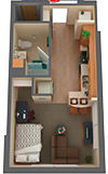 1 bed/1 bath Apartment Floorplan