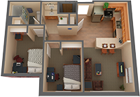 2 bed/1 bath Apartment Floorplan