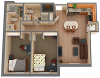 2 bed/2 bath Apartment Floorplan