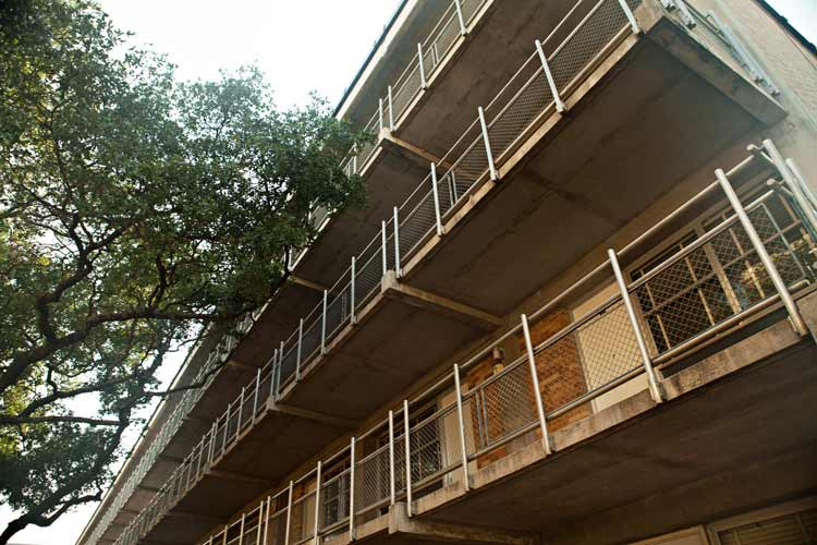 Schuhmacher from under balcony view