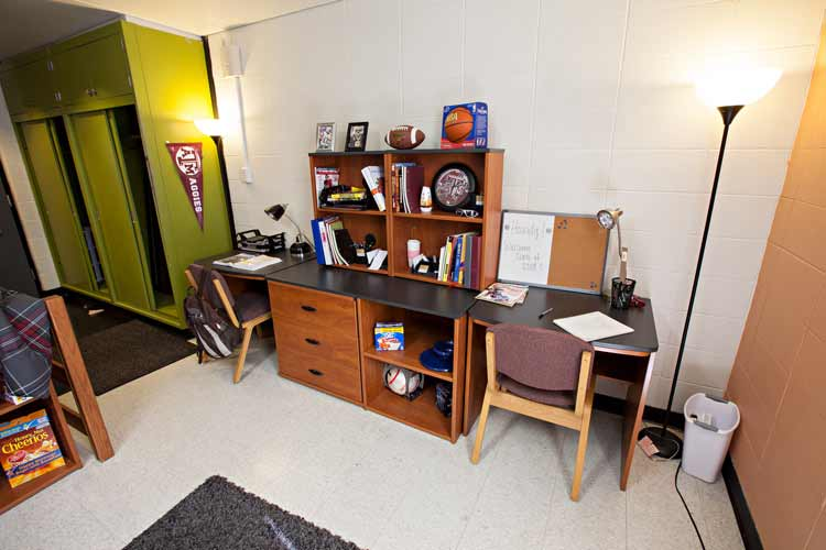 Dunn Hall student desk with floor lamps on