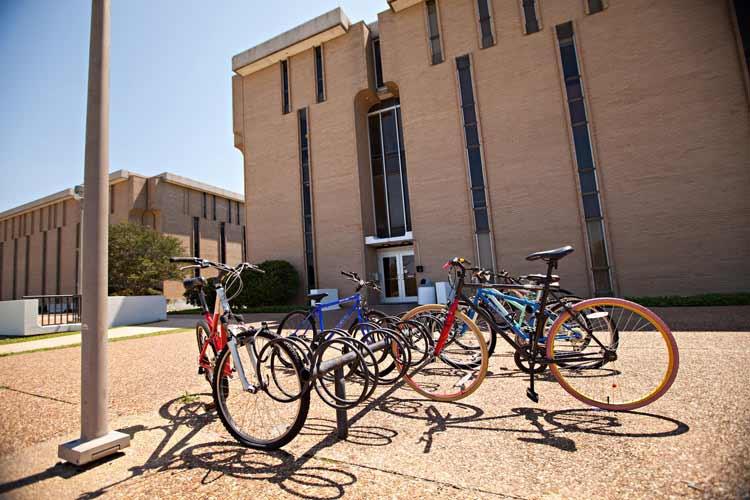 Kruger Hall exterior from bike racks