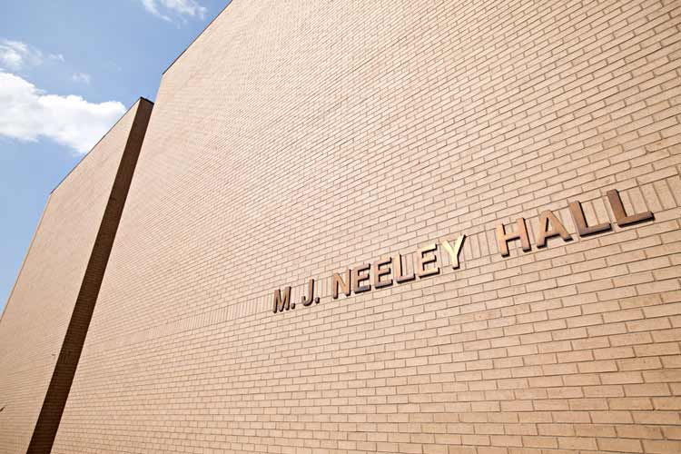 Neeley Hall exterior with close up of building name