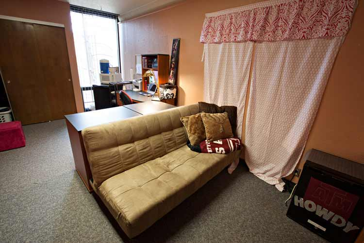 Neeley Hall futon and student desk