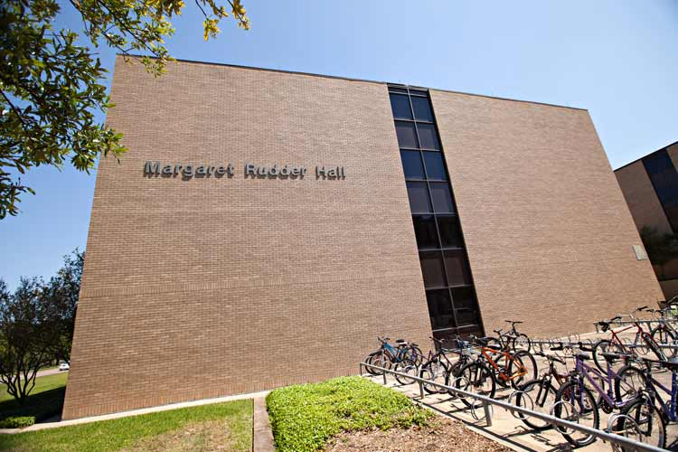 Rudder Hall exterior from bike racks near Mosher Circle
