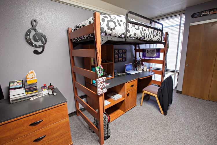 underwood hall student room with lofted bed furniture designs