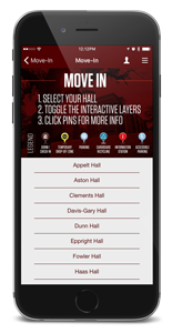 Cellphone showing the hall selection screen from the Mobile Move-In App