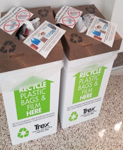 Above: Two Trex Plastic Film bins located in the Commons