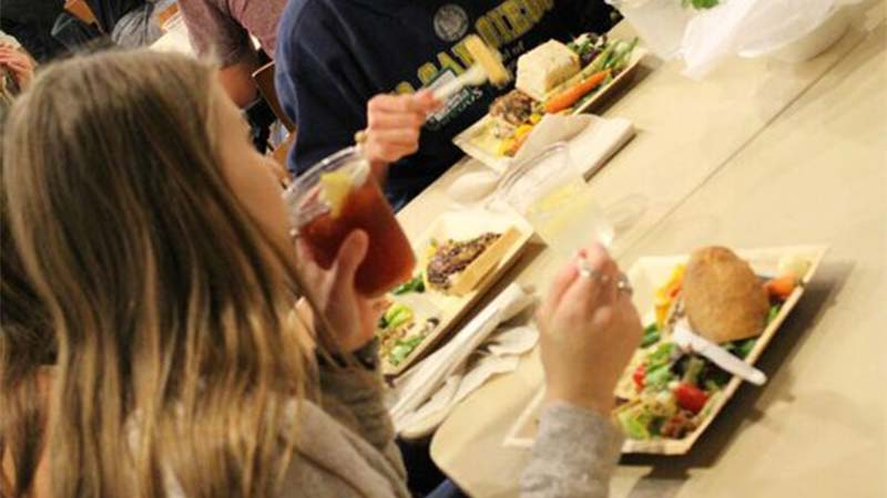 Students enjoying the locally-sourced food!