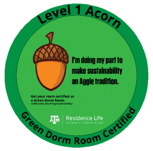 Green Dorm Room Certified - Level 1 Acorn