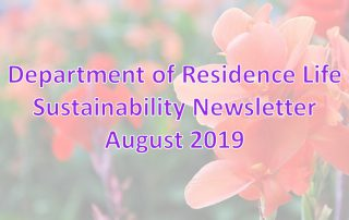 Department of Residence Life August 2019 Sustainability Newsletter Header